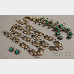 Three Silver and Turquoise Southwest Jewelry Items