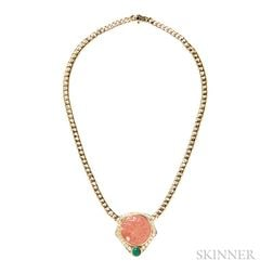 18kt Gold, Carved Coral, Emerald, and Diamond Pendant Necklace