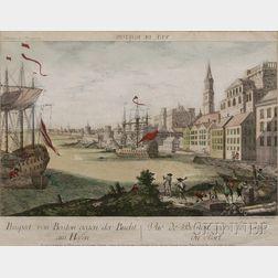 Francois Habermann, publisher (Augsburg  1762)      Vue de Boston vers le Cale au Port