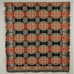 Woven Wool and Cotton Three-color Beiderwand Coverlet