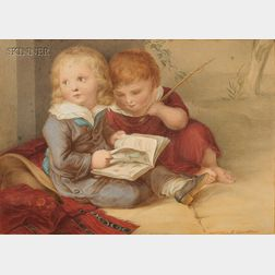 Rudolph Geudtner (German, 1811-1892)      Two Children with a Picture Book
