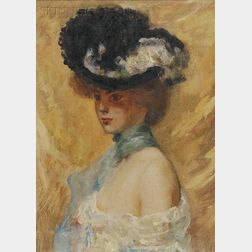 Louis Kronberg (American, 1872-1965)      Portrait of a Young Woman in a Hat.