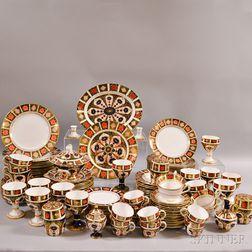 "Royal Crown Derby ""Border Imari"" and ""Old Imari"" Partial Porcelain Dinner Service"