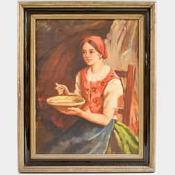 Hungarian School, 20th Century      Portrait of a Girl with Soup