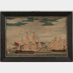 """Woolwork Picture """"HMS Rodney and Albion Beating out of the Tacus,"""""""