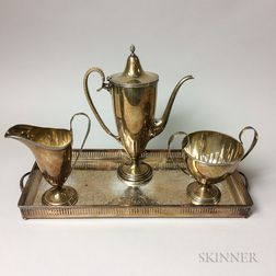 Three-piece Sterling Silver Coffee Set and a Silver-plated Tray