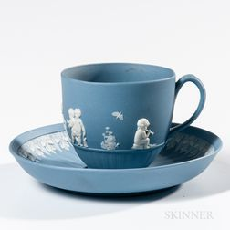 Wedgwood Solid Blue Jasper Cup and a Saucer