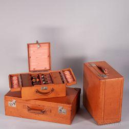 Three-piece Mark Cross Pigskin Luggage Set