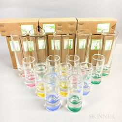 Twenty-seven Cowdy Glass Workshop Slim Button Vases
