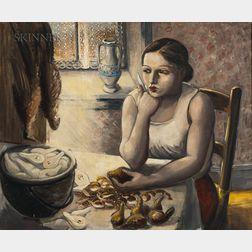 Gaston Longchamp (French/American, 1894-1986)      Woman Peeling Pears