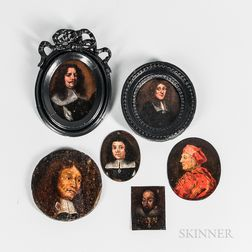 English and Dutch Schools, 16th/17th Century Style, Six Miniature Portraits of Men, Most in Black with Rectangular Linen Collars, One i