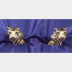 18kt Gold Enamel and Gem-set Cufflinks, Tiffany & Co.