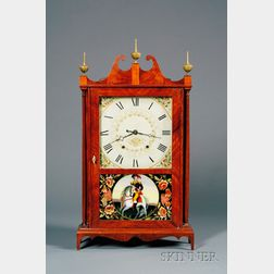 Mahogany Pillar & Scroll Shelf Clock