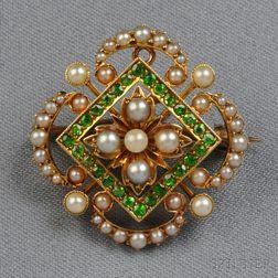Antique 15kt Gold, Demantoid Garnet, and Split Pearl Pendant/Brooch