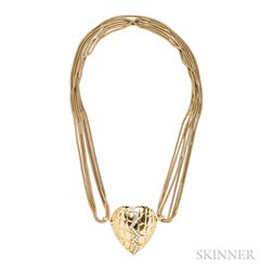 18kt Gold and Diamond Mended Heart Pendant, Gucci