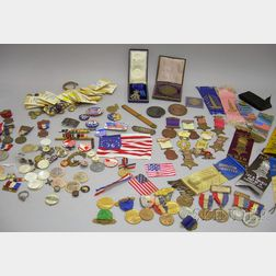 Lot of 19th and 20th Century Mostly U.S. Military, Commemorative, and Fraternal   Medals, Buttons, and Items