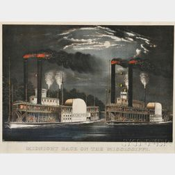 Currier & Ives, publishers (American, 1857-1907)      Midnight Race On The Mississippi.