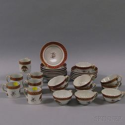 Chinese Export Porcelain Partial Tea Service with American Eagle Motif