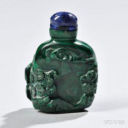 Flattened Rounded Rectangular Malachite Snuff Bottle