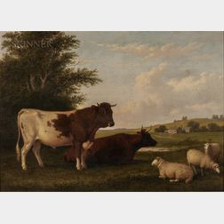 Thomas Hewes Hinckley (American, 1813-1896)      Homestead with Cattle and Sheep