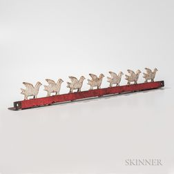 Rack of Seven Cast Iron and White-painted Bird in Flight Gallery Shooting Targets
