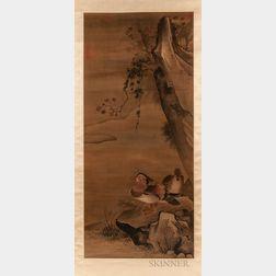 Hanging Scroll Depicting Mandarin Ducks