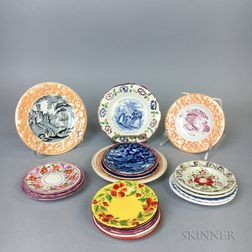 Nineteen Staffordshire Ceramic Cup Plates