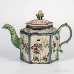 Staffordshire Creamware Chinoiserie-decorated Teapot and Cover