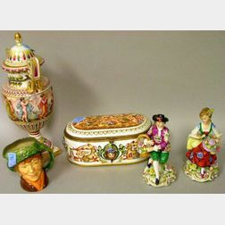 Five Assorted Pottery and Porcelain Decorative Items