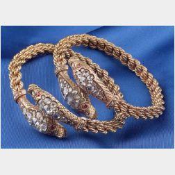 Pair of 18kt Gold and Diamond Snake Bangle Bracelets