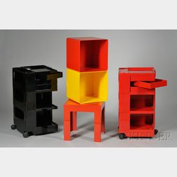 Two Joe Columbo Carts; Two Cubes and a Parsons Table