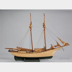 Painted Wood Two-Masted Sailing Ship Model