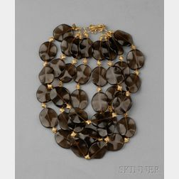 18kt Gold and Smoky Quartz Necklace, Rebecca Koven
