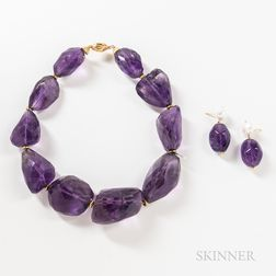 Two Pieces of 18kt Gold and Amethyst Jewelry