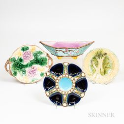 Four Pieces of Majolica Tableware