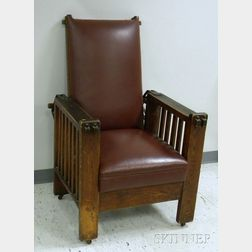 Arts & Crafts Oak Spindle-sided Morris Chair