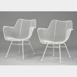 "Pair of White-painted Russell Woodard ""Sculptura"" Wire and Iron Armchairs"