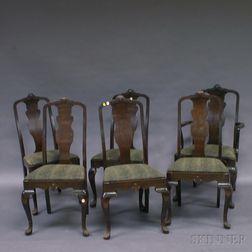 Set of Six John Raab Queen Anne-style Burl Veneer Dining Chairs