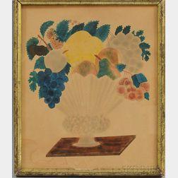 Framed Watercolor on Paper Theorem of a Basket of Fruit