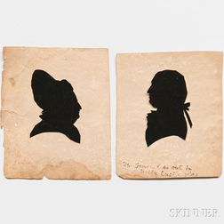 Washington, George (1732-1799) and Martha (1731-1802) Two Miniature Silhouettes after Nelly Custis.