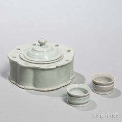 Dutch Delft White-glazed Inkstand and Two Ointment Pots