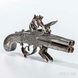 Belgian Four-barrel Flintlock Pistol