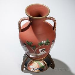 Samuel Alcock & Co. Redware Portland Vase with Stand