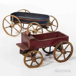 Two Painted Wagon Pull Toys