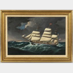 Joseph Heard (England, 1799-1859)      Portrait of a Packet Ship of the Thomas P. Cope Line