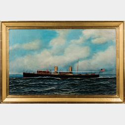 Antonio Nicolo Gasparo Jacobsen (Danish/American, 1850-1921)      Portrait of the Steam Yacht Winchester