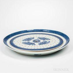 Export Porcelain Blue Fitz Hugh Platter with Strainer