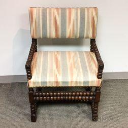 Jacobean Upholstered Walnut Armchair