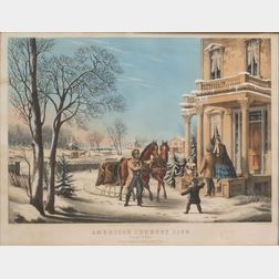 Nathaniel Currier, publisher (American, 1813-1888)    American Country Life.  Pleasures of Winter.