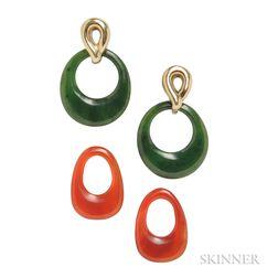14kt Gold and Interchangeable Hardstone Earrings